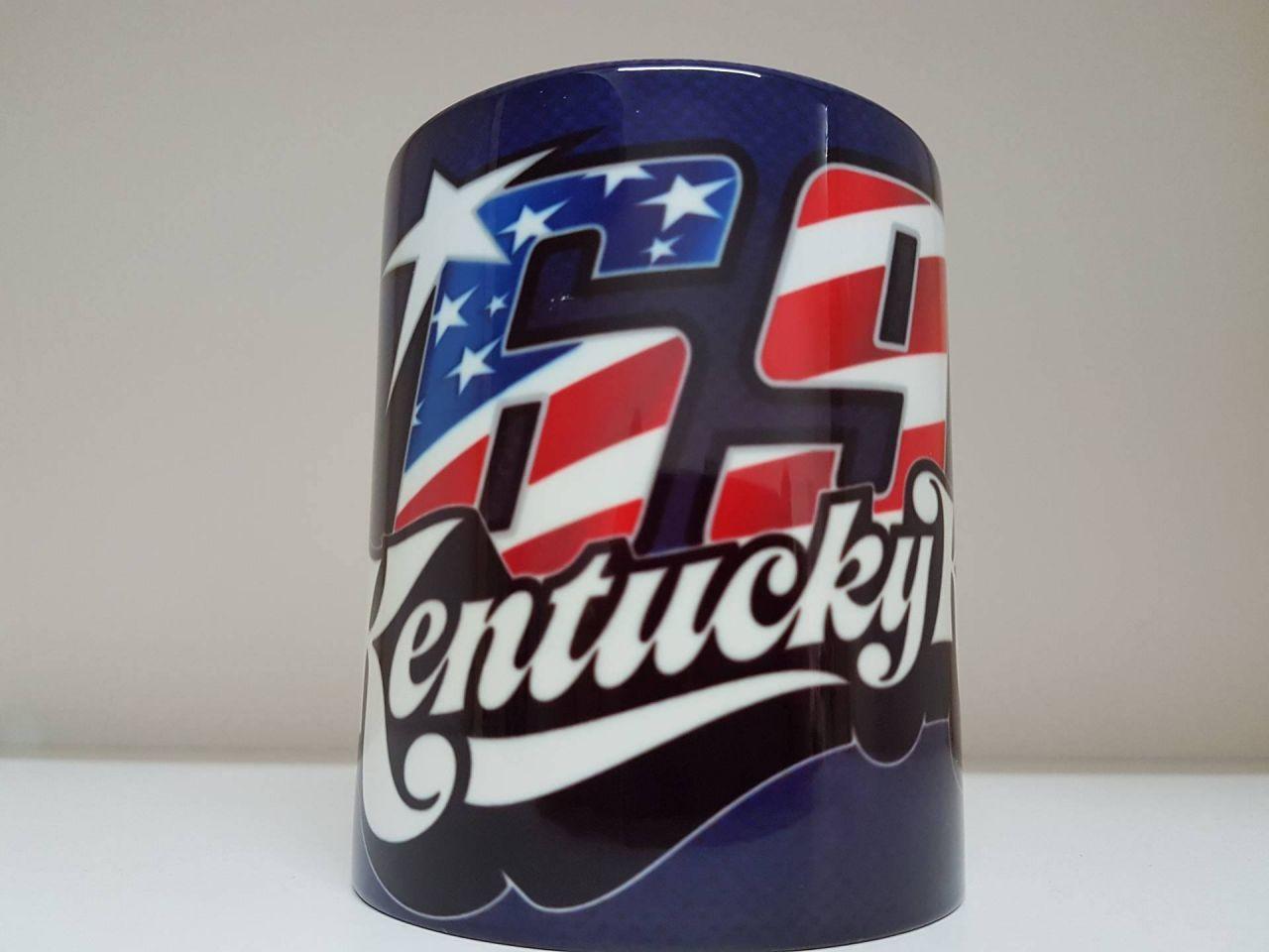 Fototasse (Keramikbecher), bedruckt mit 69 Nicky Hayden Carbon Look