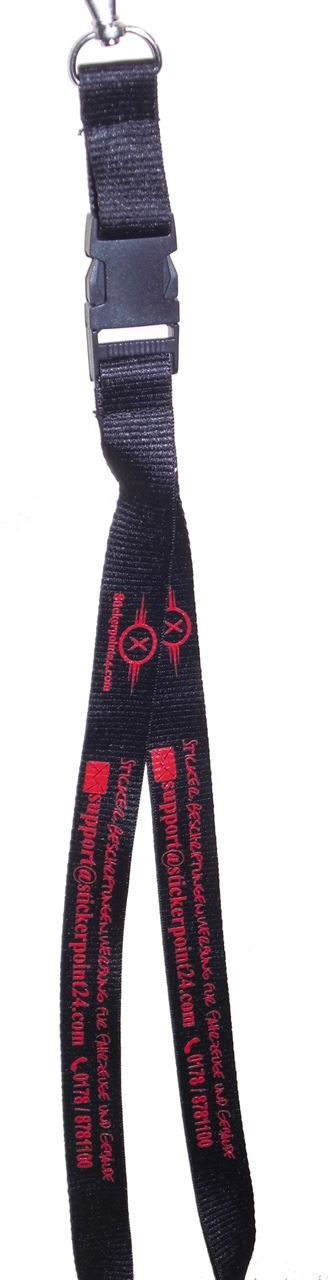 Schwarzes Schlüsselband/Laynard mit roten Werbeaufdruck