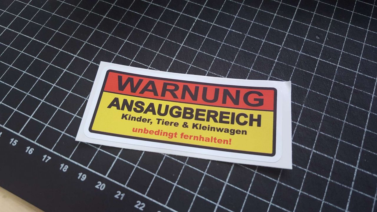 Warnung Ansaugbereich Warnschild ohne Motiv