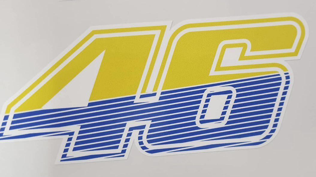 Valentino Rossi 46 Gelb Blau Weiß